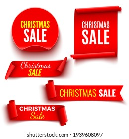 Set of red Christmas sale banners. Ribbons and round sticker. Paper scrolls. Vector illustration.