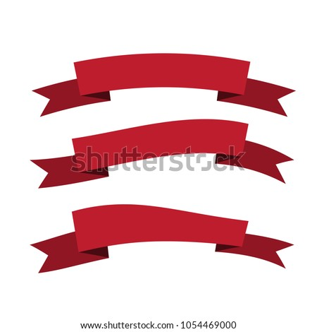 Set Red Color Ribbon Banner Label Stock Vector Royalty Free