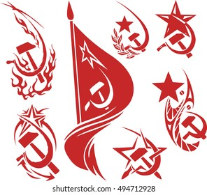 Set of red color soviet symbols with stars, flags and sickle and hammer