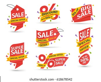 Set of red colored stickers and banners. Big set of beautiful discount and promotion banners. Advertising element. Sale banner tag. Geometric shapes and confetti. Vector illustration.