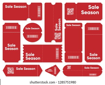 Set of red coupons with sale season writing and barcodes with QR codes