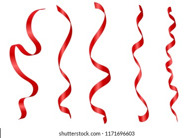 Set Red Curly Ribbons Isolated On White Background. Vector Illustration