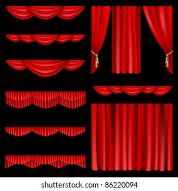 Set of red curtains to theater stage. Mesh.