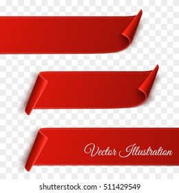 Set of red curved paper blank banners  isolated on transparent background. Vector illustration