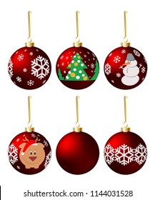 Set of red decorative ornamented Christmas balls. Realistic blown glass baubles vector illustration for New Year tree decoration