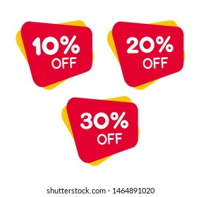 Set of Red Discount label for Sale, Vector design of marketing stickers for merchandise, internet shop and apps.