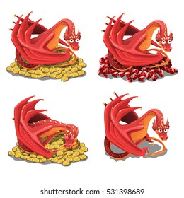 Set of red dragon guarding his treasures and golden coins isolated on a white background. Vector cartoon close-up illustration.