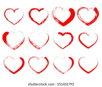 Set of red drawing hearts. Red heart icons. Vector illustration. Silhouette of heart is designed to Valentine's Day.