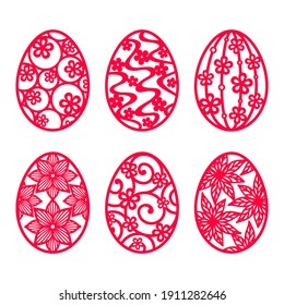 Set of red Easter eggs with a pattern, isolated on a white background. Vector decorative elements for Happy Easter design, holiday greeting card, banner, flyer, laser, plotter cutting. Spring holiday