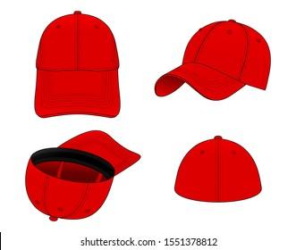 Set Red Elastic Fit Baseball Cap Vector for Template