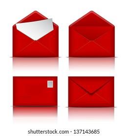 Set of Red envelopes. Vector illustration on white background