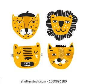 Set of red faces of safari animals tiger, lion, leopard and wild cat. Vector print for baby decor and childish style posters.