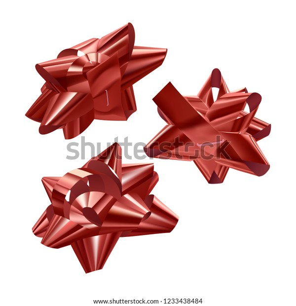 Set of red, festive bows in different angles on white background, vector illustration