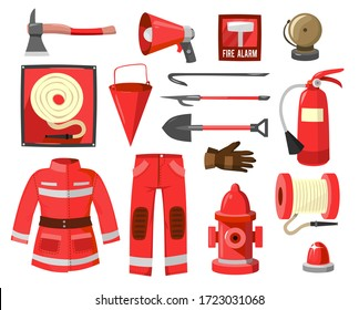 Set of red firefighter supplies and equipment vector illustration. Details of fireman costume and tools flat style. Fire safety and protection concept. Isolated on white background