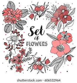 Set of red flowers. Background vector illustration