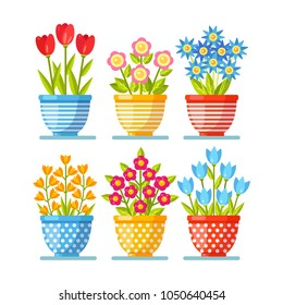Set of red flowers in pot isolated on white background. Floral bouquet. Roses brunch, tulip, daisy blossom, plant with leaf. Summer garden. Vector flat design