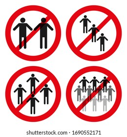 set of red forbidden sign on people group.