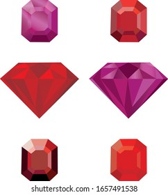 Set of red gems. Colorful red stones. Red rubies on a white background.