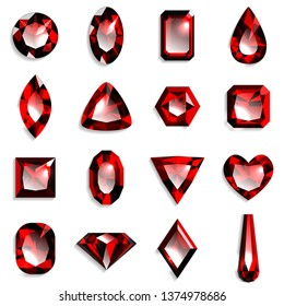 Set of red gemstones of various shapes. Jewels on white background. Vector illustration.