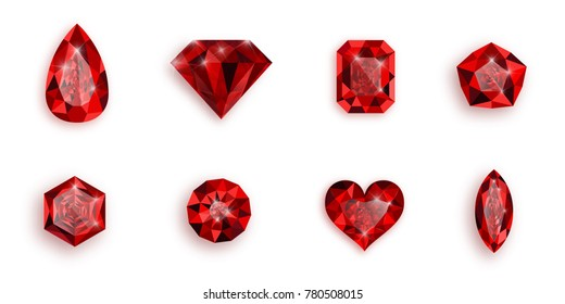 Set of red gemstones. Vector illustration of rubies.