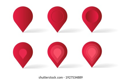 Set of red geotags of different stylized appearence, 3d illustration icons, isolated map pointers