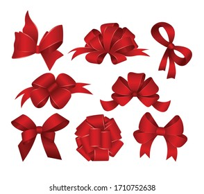 Set of red gift bows. Vector illustration. Concept for invitation, banners, gift cards, congratulation or website layout vector.