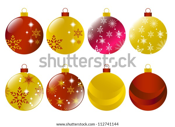 Set of red and gold christmas baubles Vector