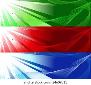 Set of red, green and blue colourful banners