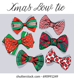 Set of a red and green Christmas bow tie. Vector illustration.