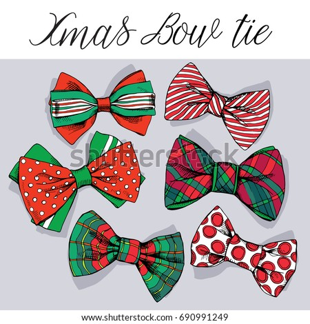 set of a red and green christmas bow tie vector illustration