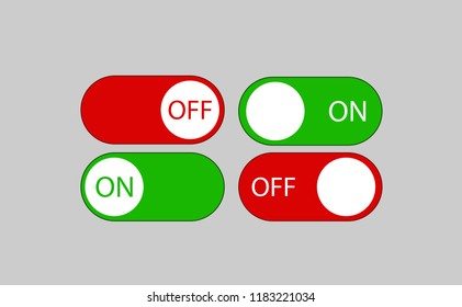 Set of red and green horizontal oval buttons with inscriptions ON and OFF