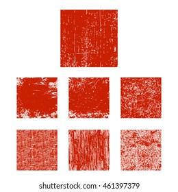 Set of red grunge square. Vector illustration.