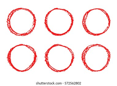Set of red hand drawing round design elements. Wax crayon circle frames background. Vector pastel chalks texture