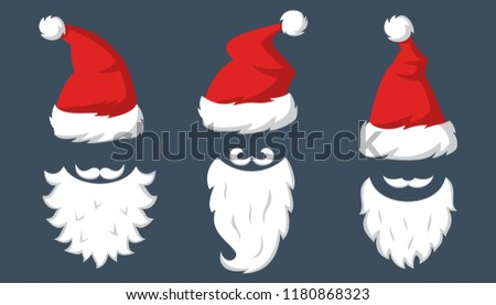f9129f63968 Set of Red hats and beards of Santa Claus. Vector illustration.