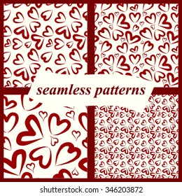 Set red heart seamless patterns, vector, Endless texture can be used for wallpaper, pattern fills, web page,background,surface