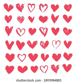 Set of red hearts. Drawn shape for design. Valentine's day concept. Vector illustration