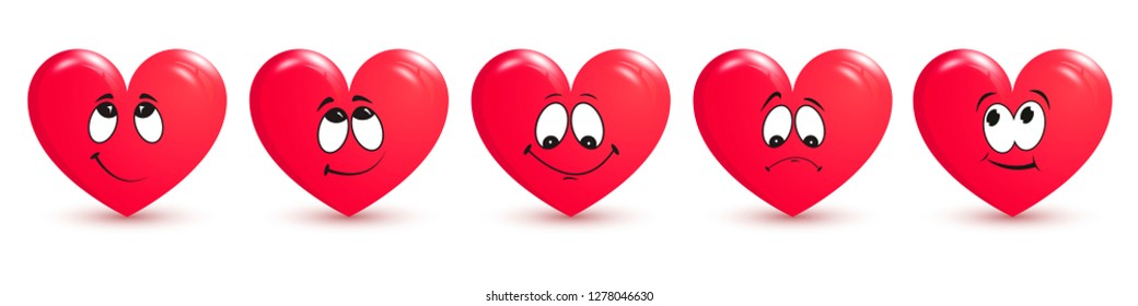 Set of red hearts on white background. The main symbol of Happy Valentine's Day. Red heart with smile for your design for the holiday of Valentine's Day. Vector illustration
