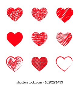 Set of red hearts for Valentines day hand drawing. flat vector illustration isolate on a white background. easy to use