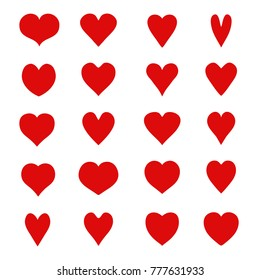 Set of red hearts. Vector. Flat style. Cartoon. Valentine's day.