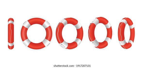 Set of red life buoys in different angles. Rescue belts, inflatable rubbers ring with rope for help and safety of life drowning. Vector realistic 3d isolated illustration on white.