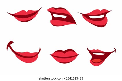 Set of red lips with a smile in isolate on a white background. Vector illustration
