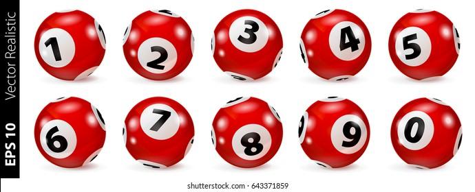 Set of red lottery bingo balls on white background. Vector illustration.
