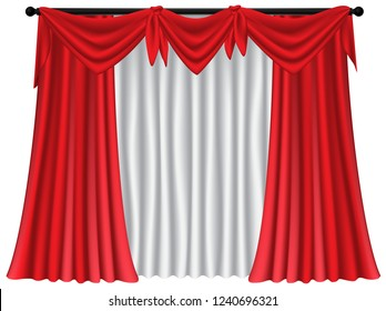 Set of red luxury curtains and draperies on white background, realistic vector illustration