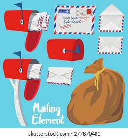 Set of Red Mail box,Letter envelope and Mail bag in vintage style vector illustration