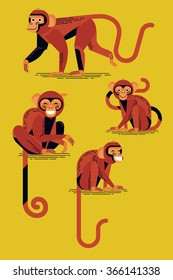 Set of red monkey smiling characters. Cool flat design collection of red monkeys illustrations walking and sitting