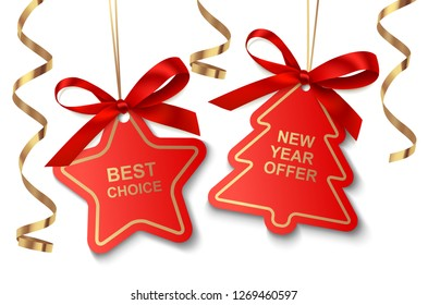 Set of red New Year or Christmas Sale tags with golden ribbon and bow isolated on white background. Vector illustration. Holiday decoration