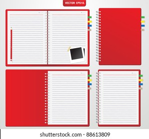Set of Red notebook and pencil, instant photo. Vector template for design work