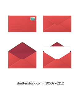 A set of red open and closed envelopes from the front and back, with paper inside and postal stamp. Mail, letter, correspondence, quick instant message. Blank envelopes.