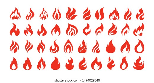 Set of red and orange fire flame. Collection of hot flaming element. Idea of energy and power. Isolated vector illustration in flat style
