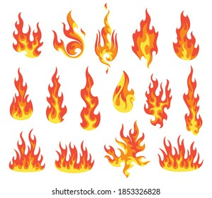 Set of red and orange fire flame. Flames of different shapes. Fireball set, flaming symbols. Idea of energy and power. Collection of hot flaming element. Vector icons in cartoon style